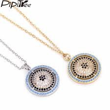 whole pipitree multi cubic zirconia big round evil eye pendant necklace copper silver gold color chain jewelry necklaces for women men heart pendant