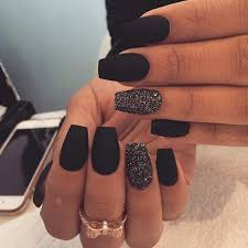 matte black nails and black glitter accent ones for parties