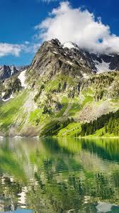 White Green Mountain Reflection On ...