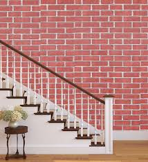 3D Brick Design Red PVC Wallpaper with ...