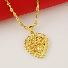 24k yellow gold necklace top quality necklace heart