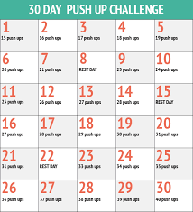 30 Day Push Up Challenge Monthly Fitness Challenges 30