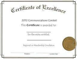Certificate Of Excellence Template Free Download Word Thefreedl