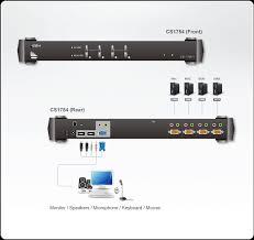 4 port ps 2 usb vga audio kvm switch cs1754 aten rack kvm switches 4 port ps 2 usb kvm switch