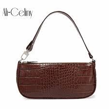 2019 <b>Croc</b> Baguette <b>Bag</b> for <b>Women Crocodile pattern</b> Patent ...