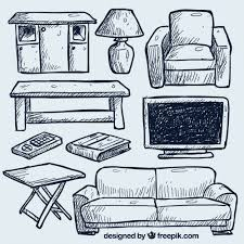 couch drawing. Hand Drawn Living Room Furniture Free Vector Couch Drawing O