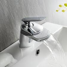 Ibathuk Modern Waterfall Basin Sink Mixer Tap Chrome Bathroom