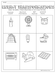 Energy Transformations Worksheet   Worksheets, Activities and Students
