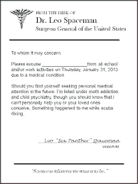 Doctor Excuse Letter For School Doctors Template Fake Ffshop