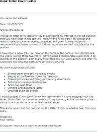 Cover Letter Sample For Banking Position Bank Job Cover Letter