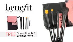 4 pieces of benefit makeup brushes set with pencil eyeliner pouch