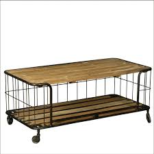 elegant rolling coffee table wire basket reclaimed wood amp iron rolling coffee table cart