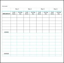 Free Food Log Template Diary Downloadable Weekly Journal Word