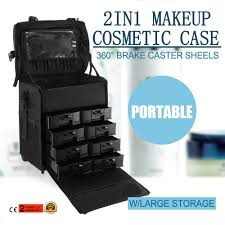 details about pro black 2in1 soft sided rolling makeup case train bag w drawer artist