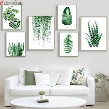 CLSTROSE Modern <b>Green Tropical Plant Leaves</b> Canvas Art Print ...