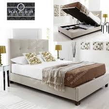Walker Oatmeal Fabric King Size Ottoman Storage Bed Frame