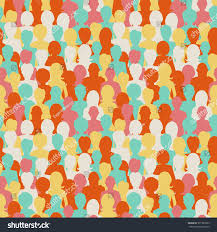 People Pattern Enchanting Colorful People Silhouettes Crowd People Seamless Stock Vector