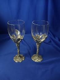seagull pewter stem wine goblet glasses sea gull lot of 2 excellent condition 425113551