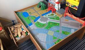 elc train and car play table with wooden train set in hull east