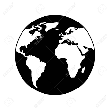 Globe World Earth Planet Map Icon Vector Illustration Black And