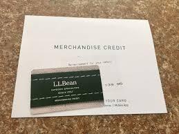 l l bean gift card merchandise credit return reimburt fast credit merchandise card gift bean