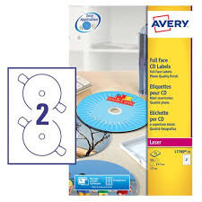 Avery Cd Labels Avery Cd Dvd Labels Laser 2 Per Sheet Dia 117mm High Glossy White Ref L7760 25 50 Labels