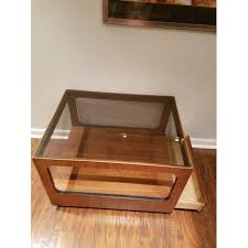 mid century modern glass coffee table new mid century modern lane teak table with smoked glass