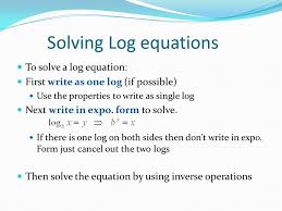 solving log equations to solve a log equation