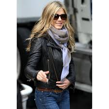 jennifer aniston biker style black leather jacket