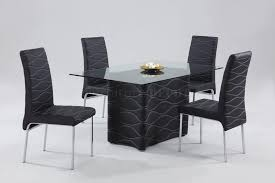 small rectangle glass top dining room table with black leather chairs