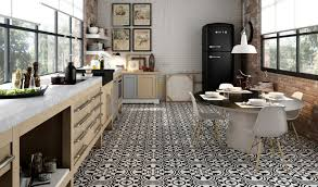 black hydraulic tile kitchen and dining area floor