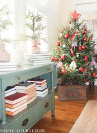 Christmas Living Room Decorating Ideas Delectable ChristmasHomeTou Rsimple Nature Decor The Red Painted Cottage