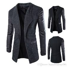 long leather pu sleeve men coats blend woolen winter autumn slim fit mens trench outerwear casual