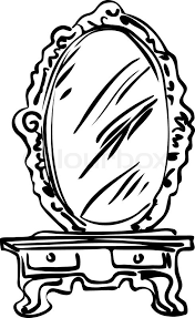 hand mirror sketch. Sketch Of Large Mirror On A Dressing-table, Vector Hand