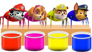 Paw Patrol Chase Skye Rubble Head Spider Bathing Colors Fun L