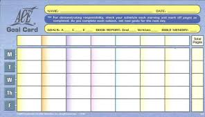 Ace Goal Chart Upper Level Goal Card From Accelerated Christian Education Ace