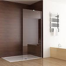 seesuu frameless shower door fixed glass bathtub shower screen panel walk in shower enclosure clear glass chrome finish