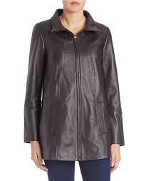 jones new york leather jacket in brown dark brown lyst