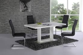 high gloss dining table and 4 chairs white with black set