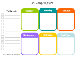Weekly Planner Template Word Free Printable Weekly Planner