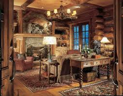 woodland park lodges rustic home office also area rug cabin chandelier coffered ceiling console table divided lights faux finish fireplace mantel fireplace