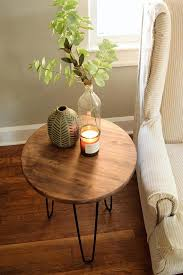 side table with hairpin legs rustic