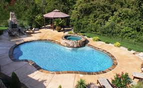 rectangle inground pools with hot tubs. Exellent Tubs Award Winning Freeform Gunite Pool With Hot Tub And Sheer Descent  Waterfeature Intended Rectangle Inground Pools With Hot Tubs 0