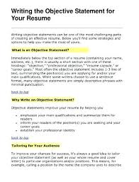 Strong Objective Statements For Resume Objective Sentence For Resume Samples Of Objective For Resume 88