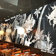 japanese koi mural wall art local artist restaurant decor interior design on mural wall artist with new wall art sushi world