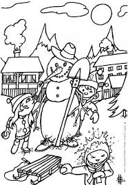 Small Picture Snowman is skiing with santa coloring pages Hellokidscom