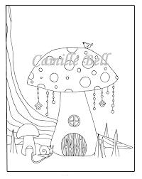 Paddestoel Fairy Huis Kleurplaat Volwassen Kleuren Pagina Etsy