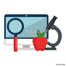 computer desktop with magnifying glass and apple