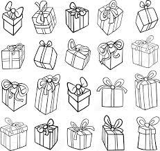 黒と白の漫画イラスト クリスマスや誕生日のプレゼントやギフト オブジェクト クリップ アート