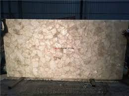 backlit semi precious stone white crystal quartz slab for countertops